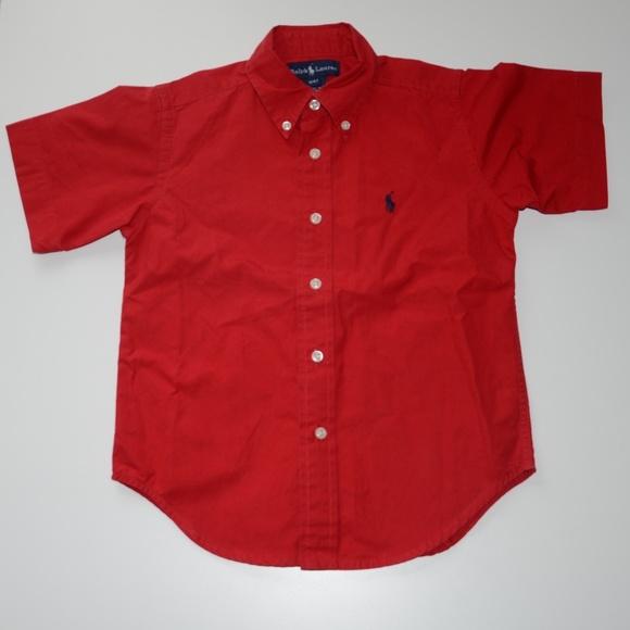 2ca302c5a Ralph Lauren Red Short Sleeve Button Down Shirt NWT